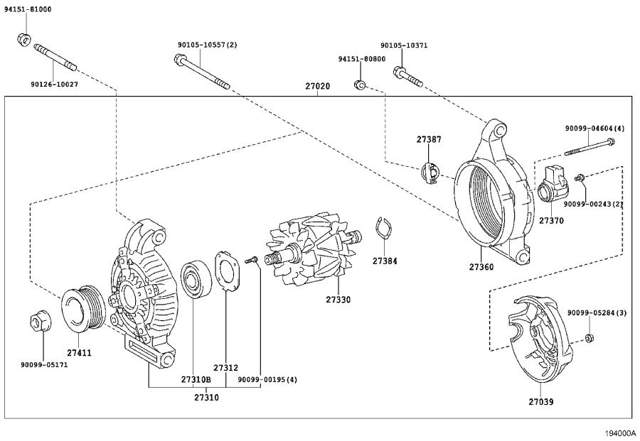 2019 Toyota Land Cruiser Rotor assembly, alternator