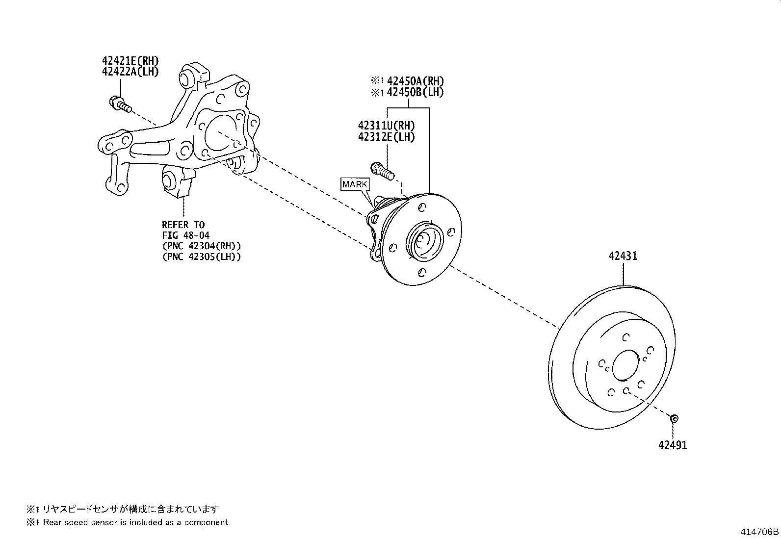 Toyota Camry Wheel Bearing And Hub Left Right Rear