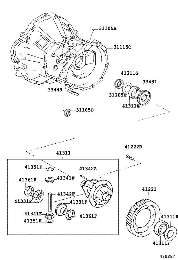 2005 Toyota Corolla Gear. Front differential ring; rear