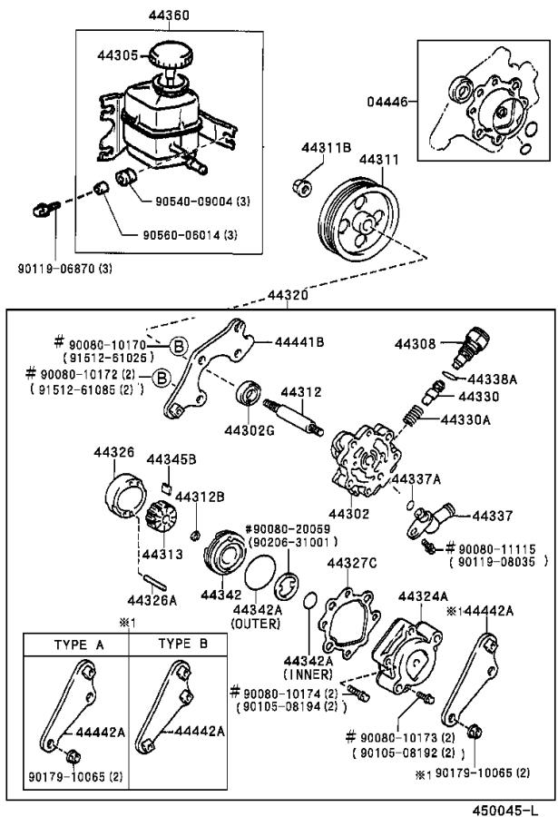 2001 Toyota Camry Bracket, vane pump, rear. Suspension
