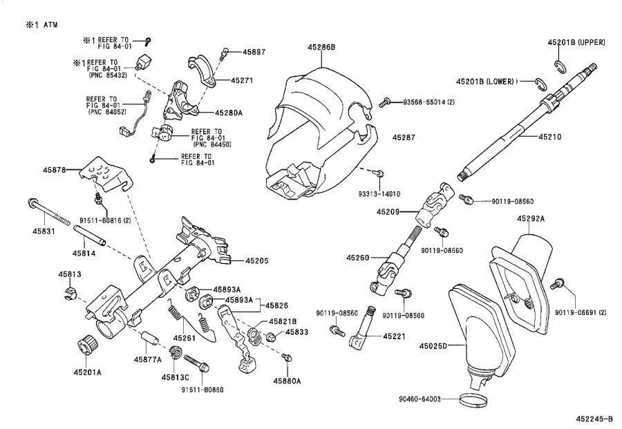 2002 Toyota RAV4 Steering Column Cover (Upper). Mechanisms