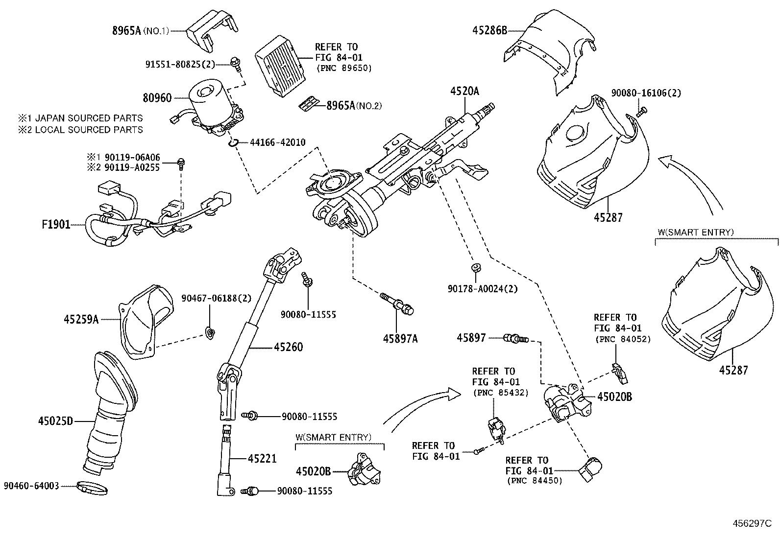 Toyota Rav4 Steering Column Wiring Harness Wire
