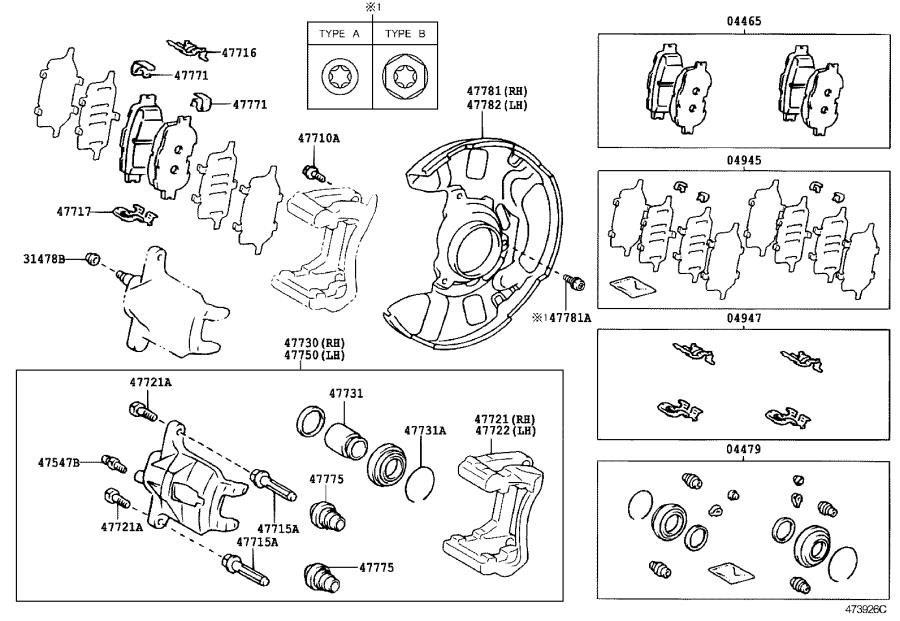 Scion TC Disc Brake Pad Set (Front). A set of pads for one