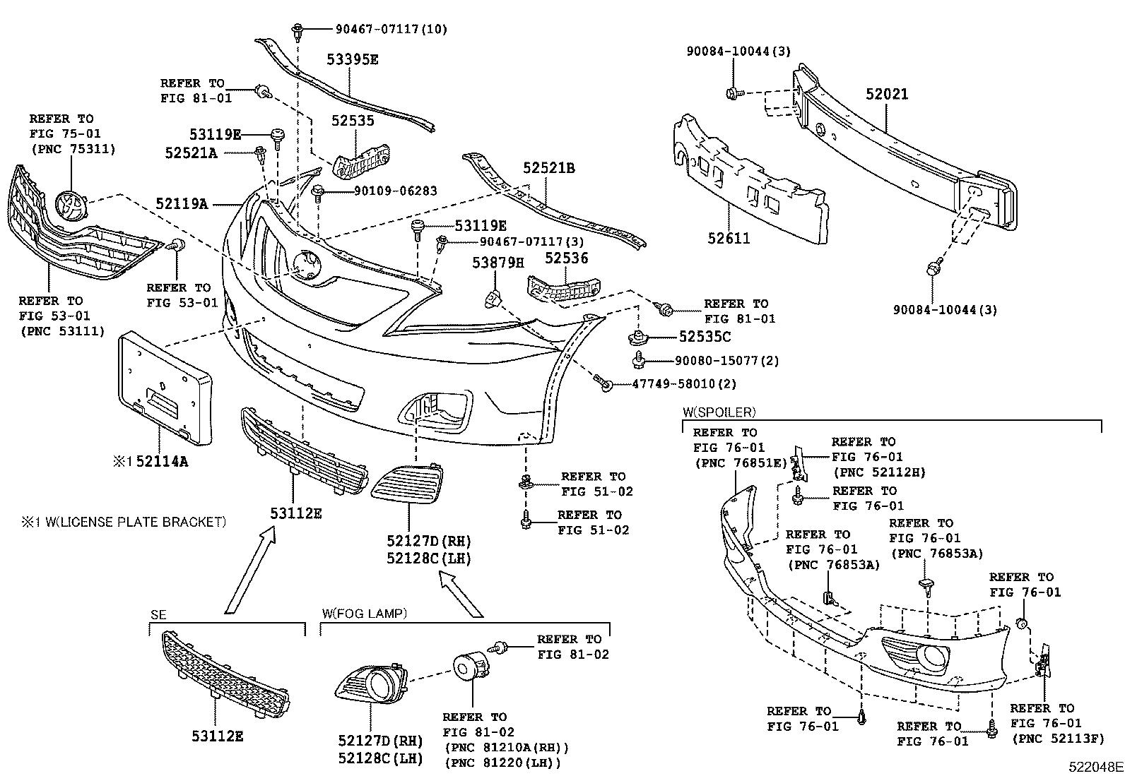 Toyota Camry Retainer Front Bumper Side Right Body
