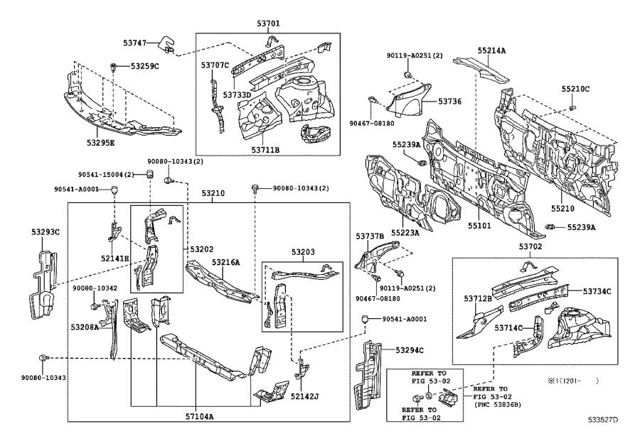 2014 Toyota Camry Arm, front bumper, upper right. Body
