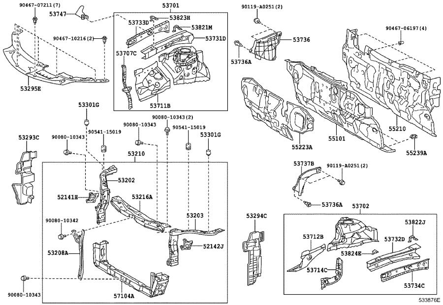 2014 Toyota Avalon Fender Rail Reinforcement (Left, Front