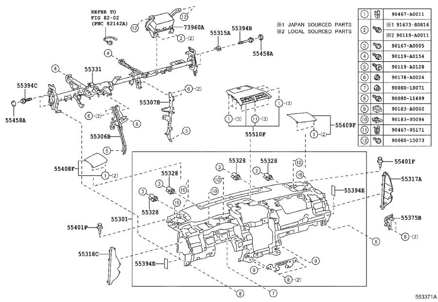 2015 Toyota Camry Stopper sub-assembly, glove compartment