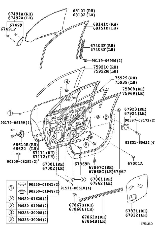 Toyota Highlander Door Wiring Harness (Left, Front