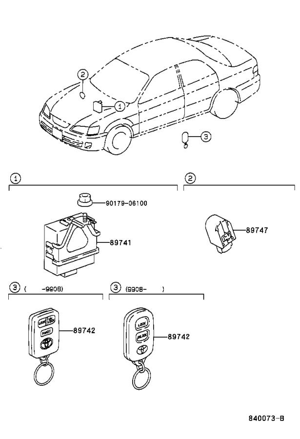 2001 Toyota Camry Keyless Entry Transmitter. Electrical