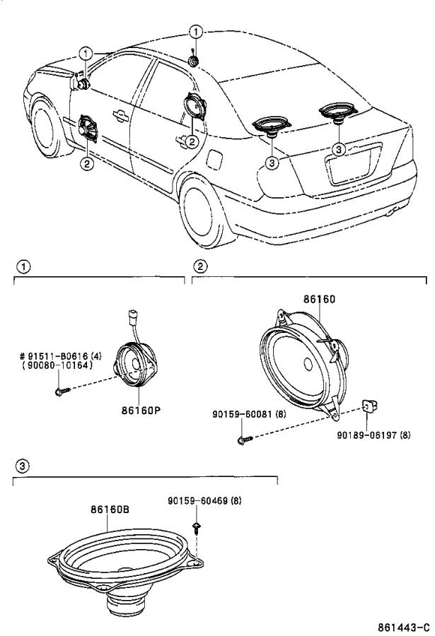 2005 Toyota Camry Speaker assembly, front no. 2