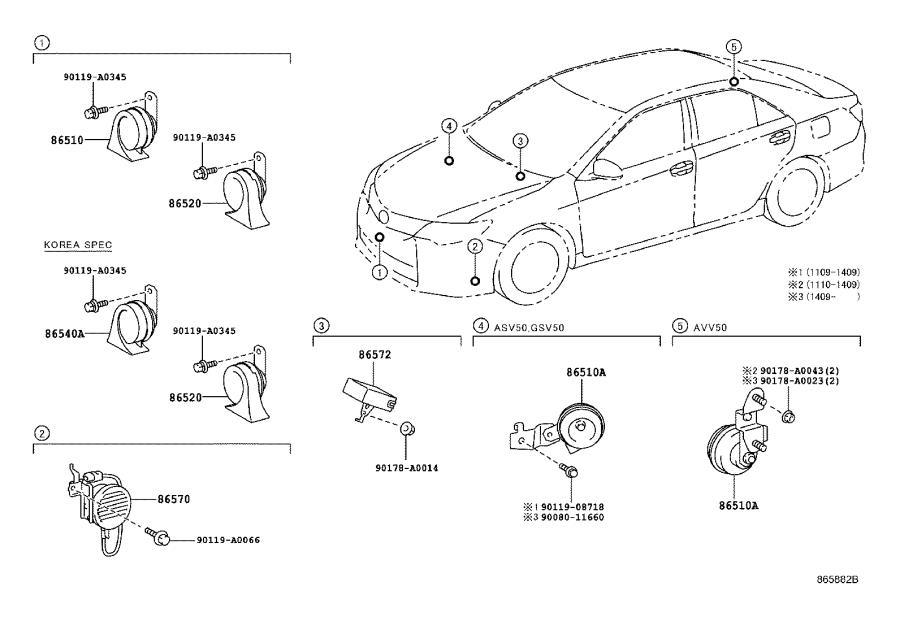 2014 Toyota Camry Speaker assembly, vehicle approaching