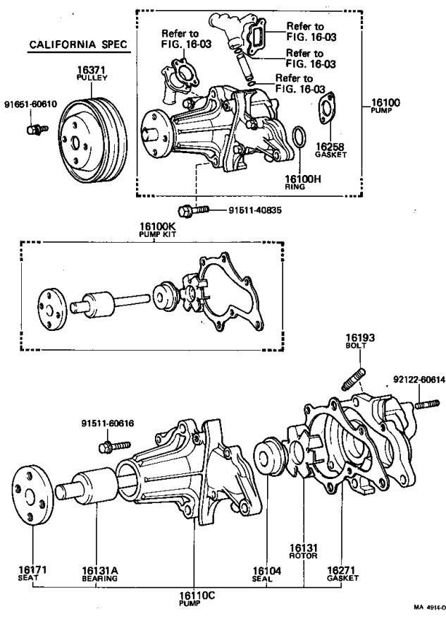 Toyota Tercel Pump assembly, engine water. Cooling, cnd