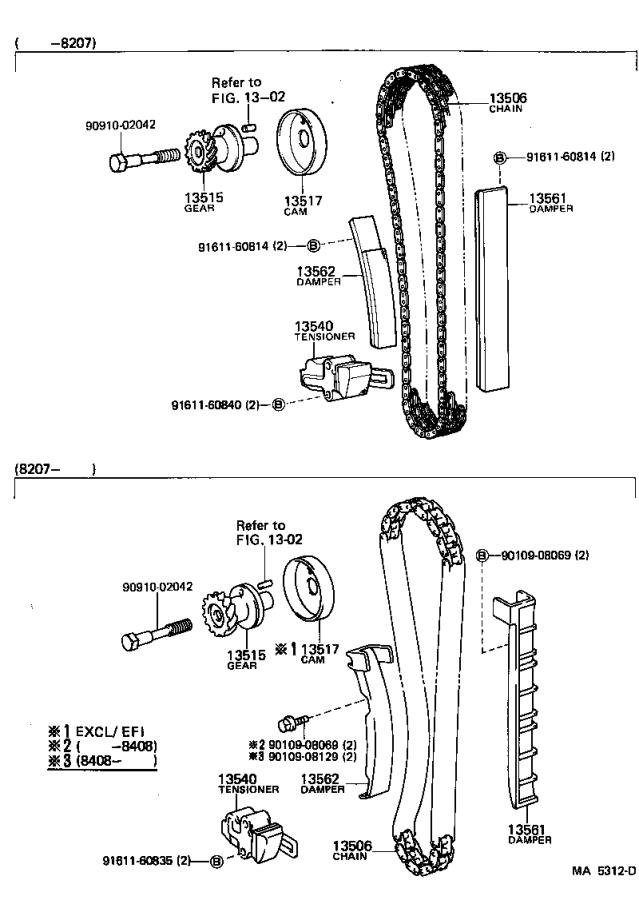 Toyota Celica Tensioner assembly, chain, no. 1. Engine