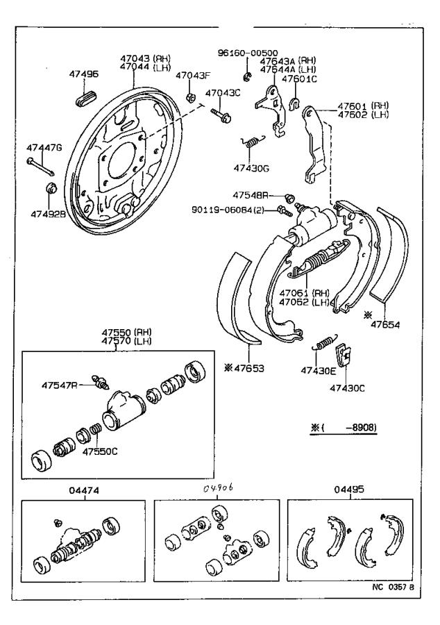 Toyota Corolla Shoe kit, rear brake. Mark, brakes