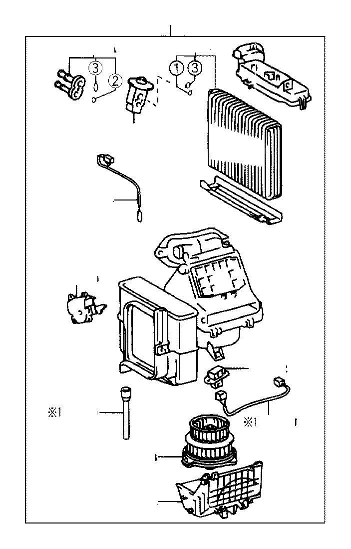 2005 Toyota Echo Motor sub-assembly, blower with fan