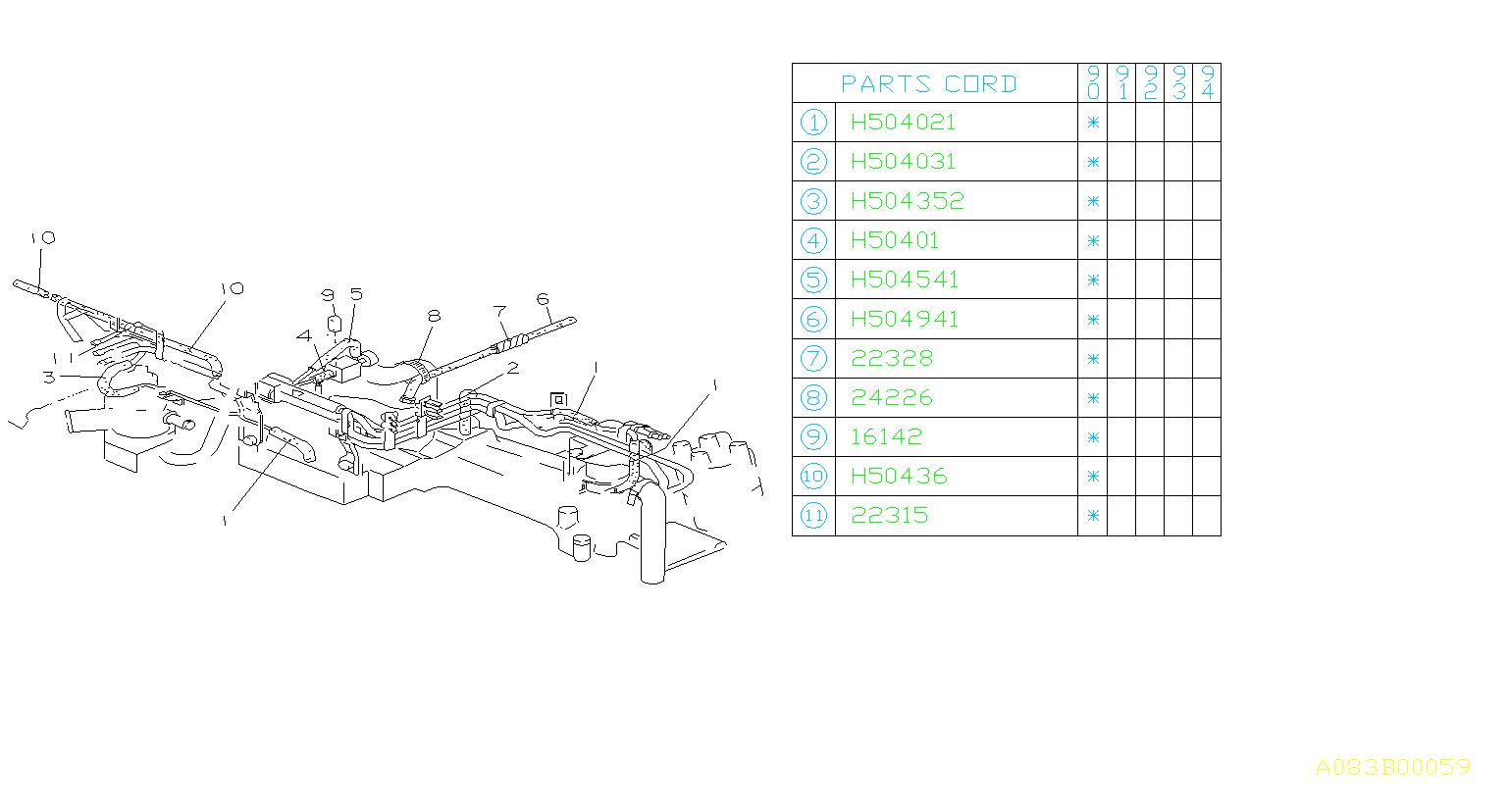 Subaru Loyale Connector Vacuum Hose, NO.2. 71. 71- TURBO