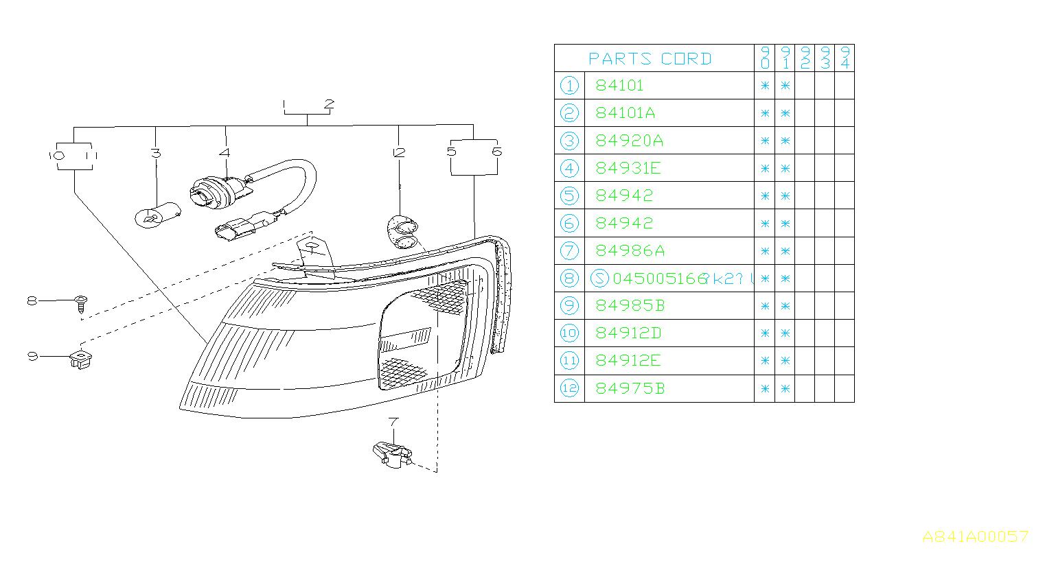 Subaru Legacy Bulb-front combination lamp. Maintenance