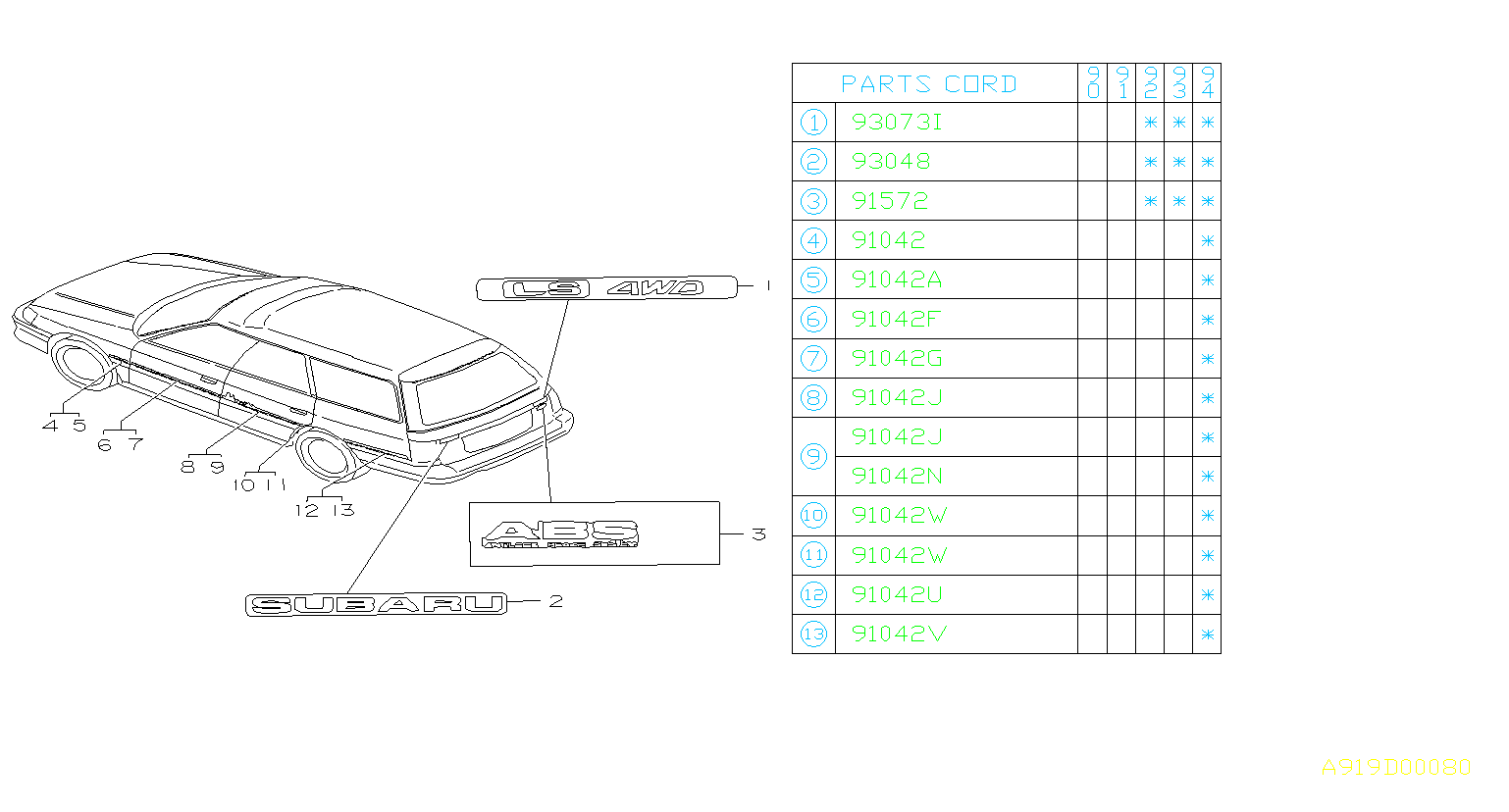 Subaru Legacy Letter mark grade tailgate (rear gate