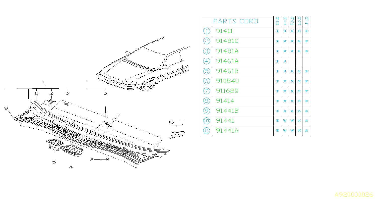 Subaru Legacy Clip Cowl Panel Body