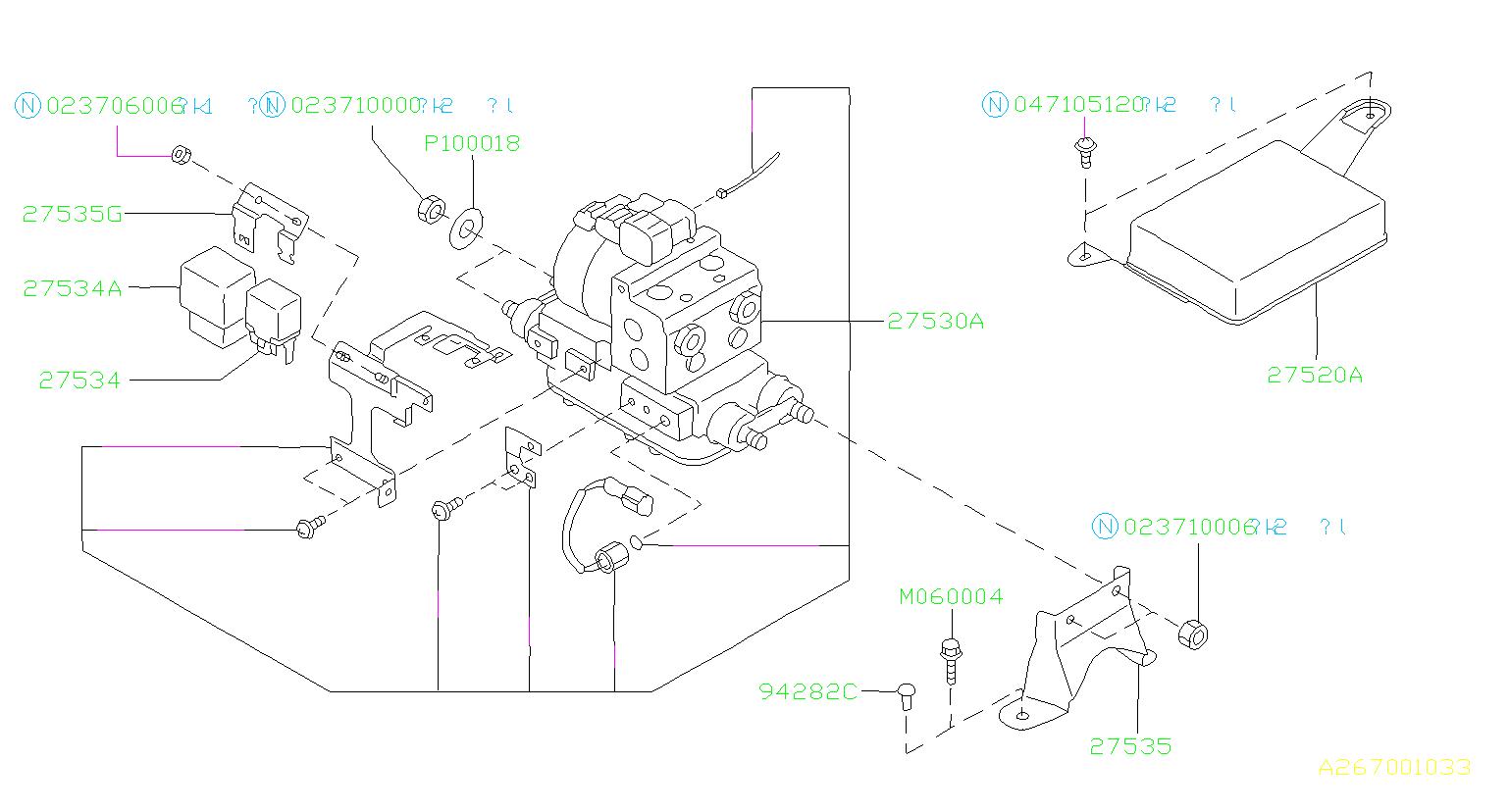 1996 Subaru Legacy Abs relay. Unit, system, hydraulic