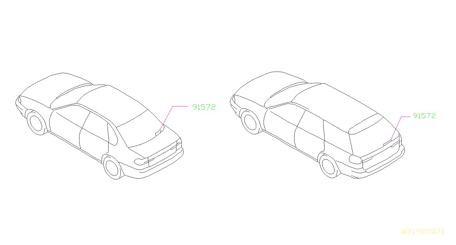 Subaru Legacy Label Rear Window