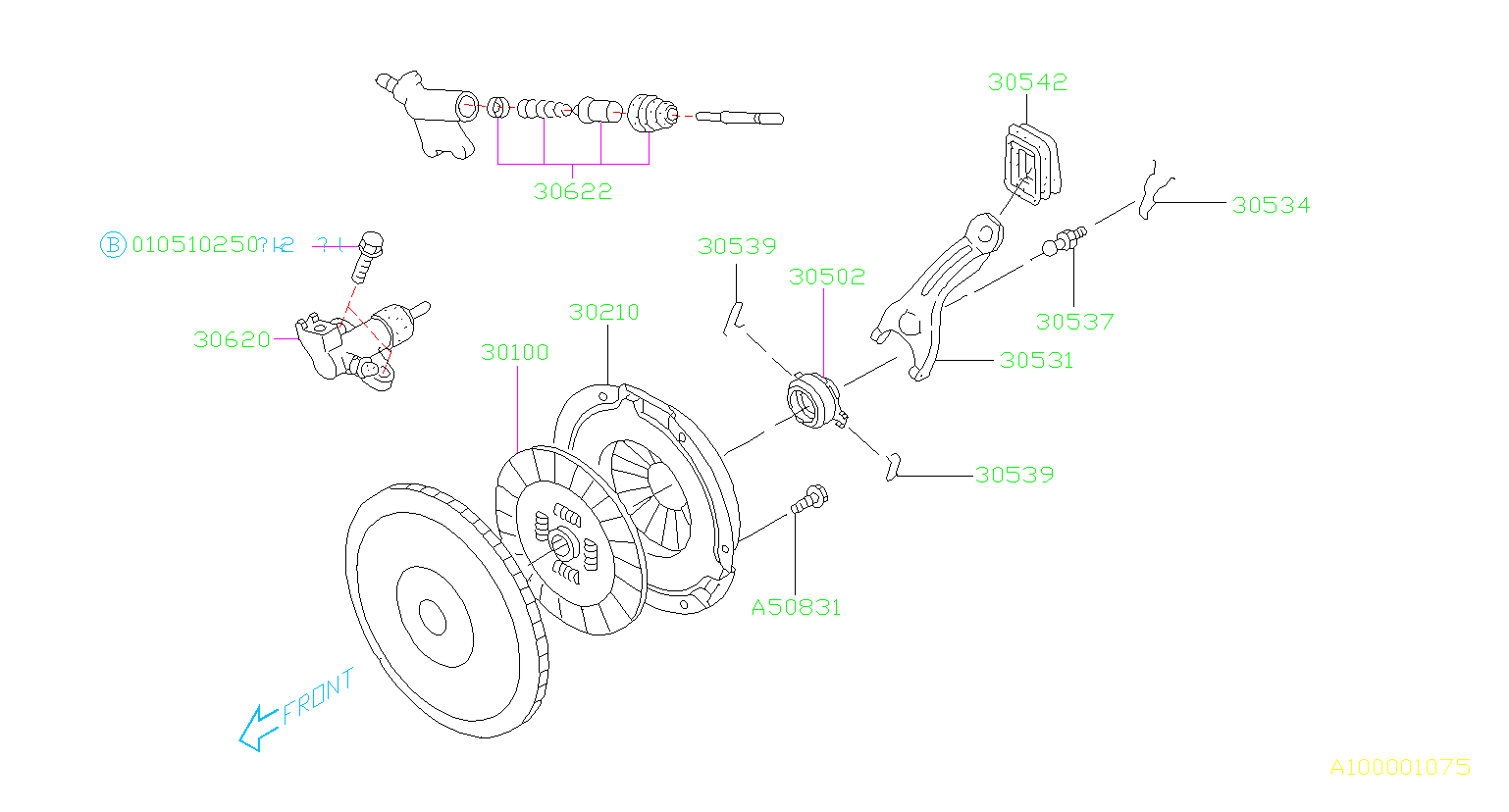 Subaru Baja Lever-clutch release. Transmission, manual
