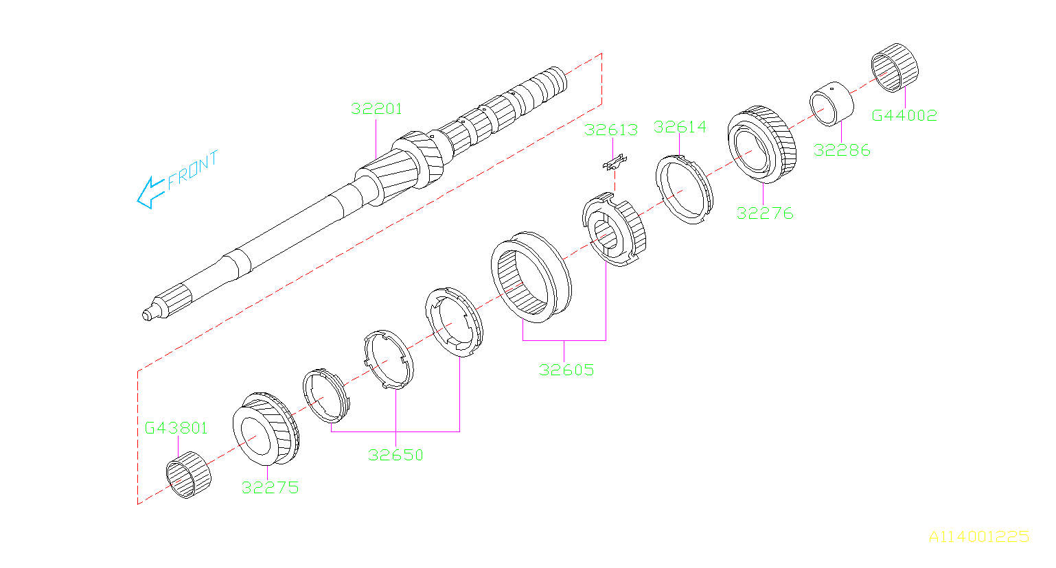 Subaru Legacy Gear complete-4th drive. Transmission, shaft