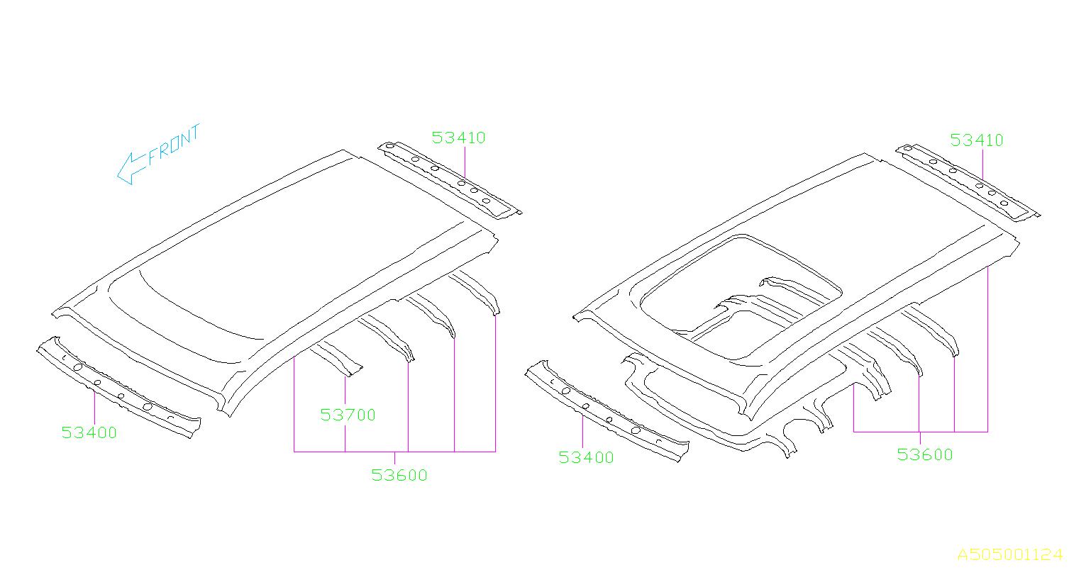Subaru Outback Brace complete-roof, center. Panel, body