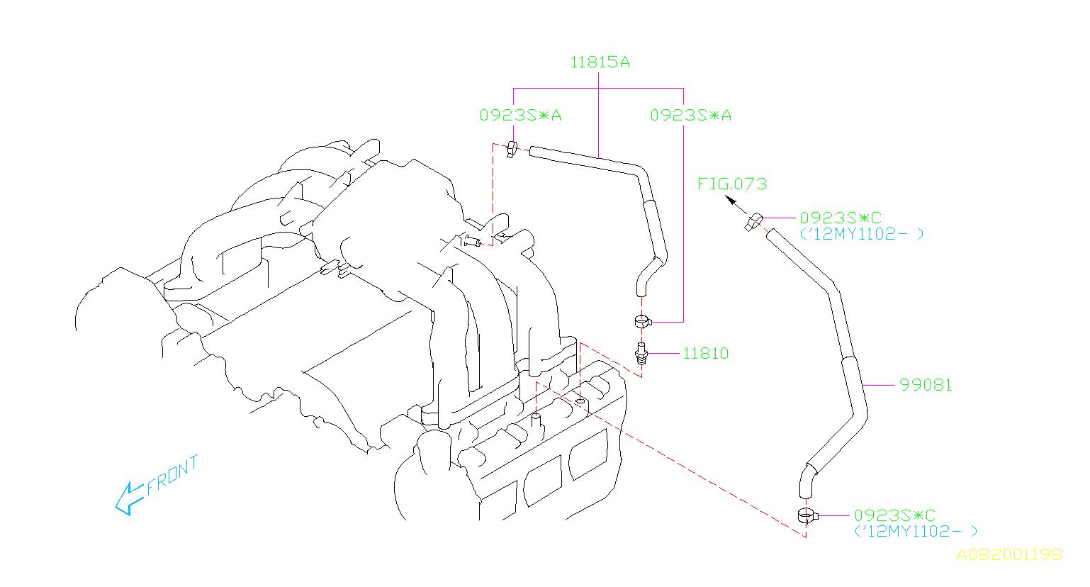 Subaru Outback Hose Complete Vacuum. Hose CP Vacuum