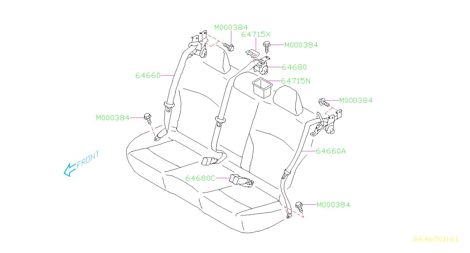 Subaru Legacy Seat Belt Lap and Shoulder Belt (Rear