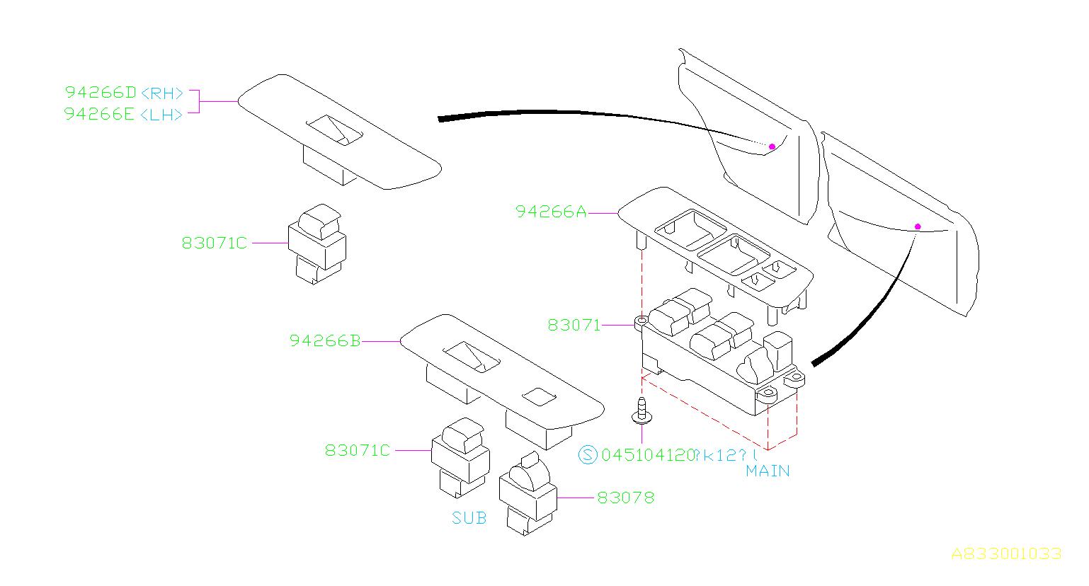 Subaru Impreza Panel-power window sub switch, rear lh