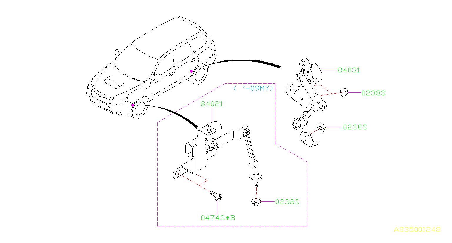 Subaru Forester Headlight Level Sensor (Front). Sensor