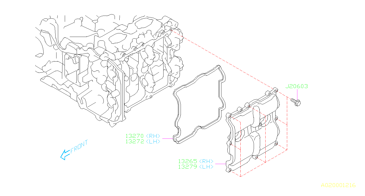 Subaru Forester Engine Valve Cover Gasket (Right). Gasket
