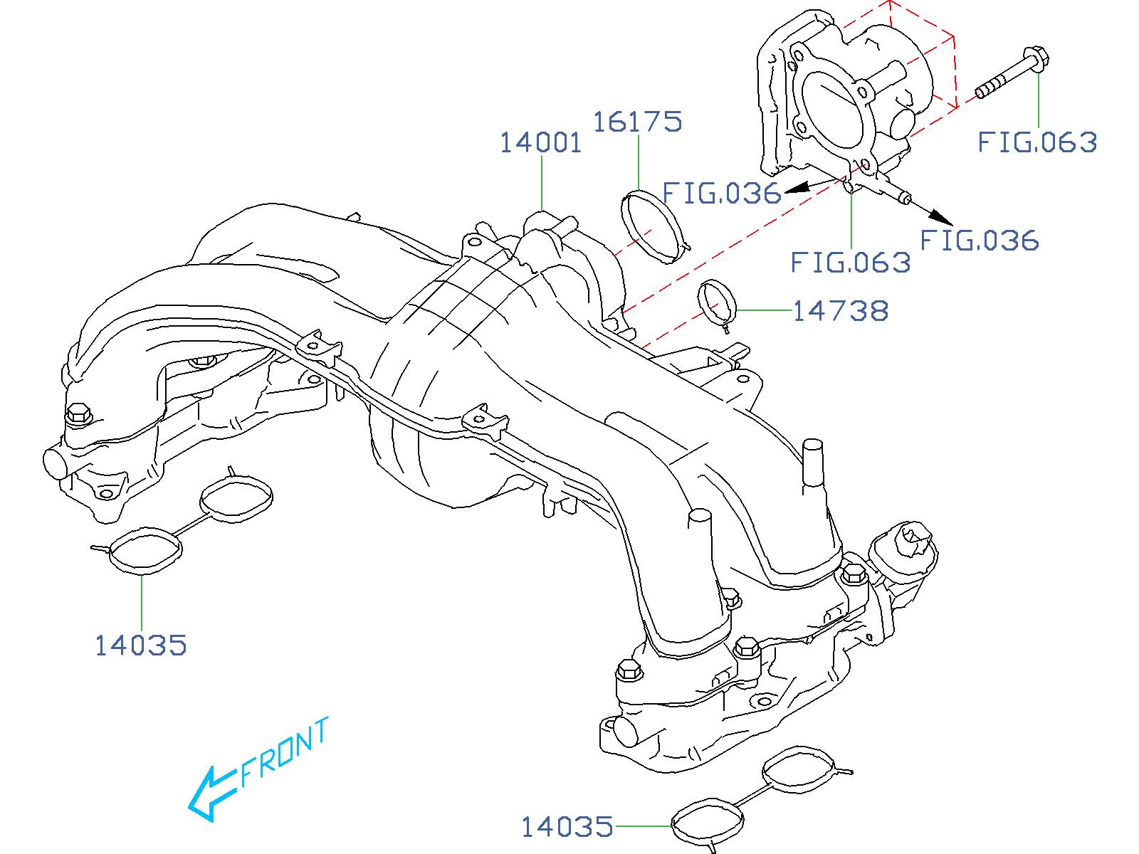 Subaru Forester Egr Valve Gasket Manifold Intake Body