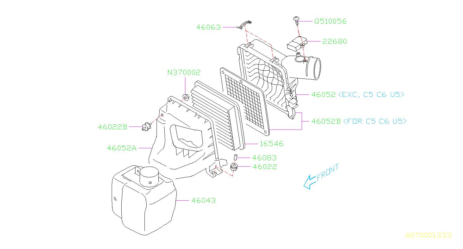 Subaru Forester Engine Air Intake Resonator. Used to