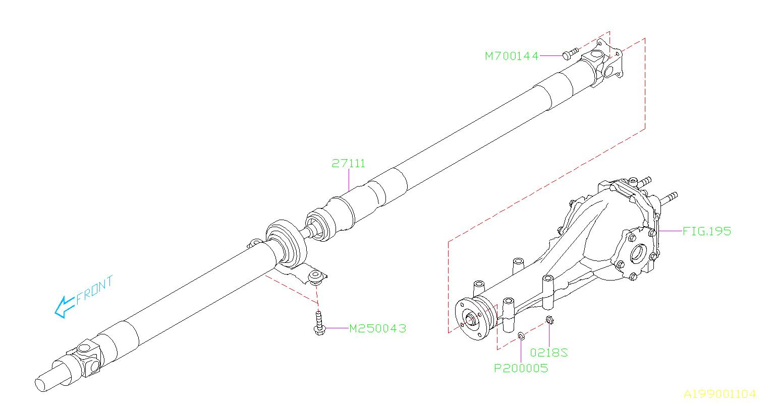 Subaru STI Bolt & washer assembly. Shaft, propeller