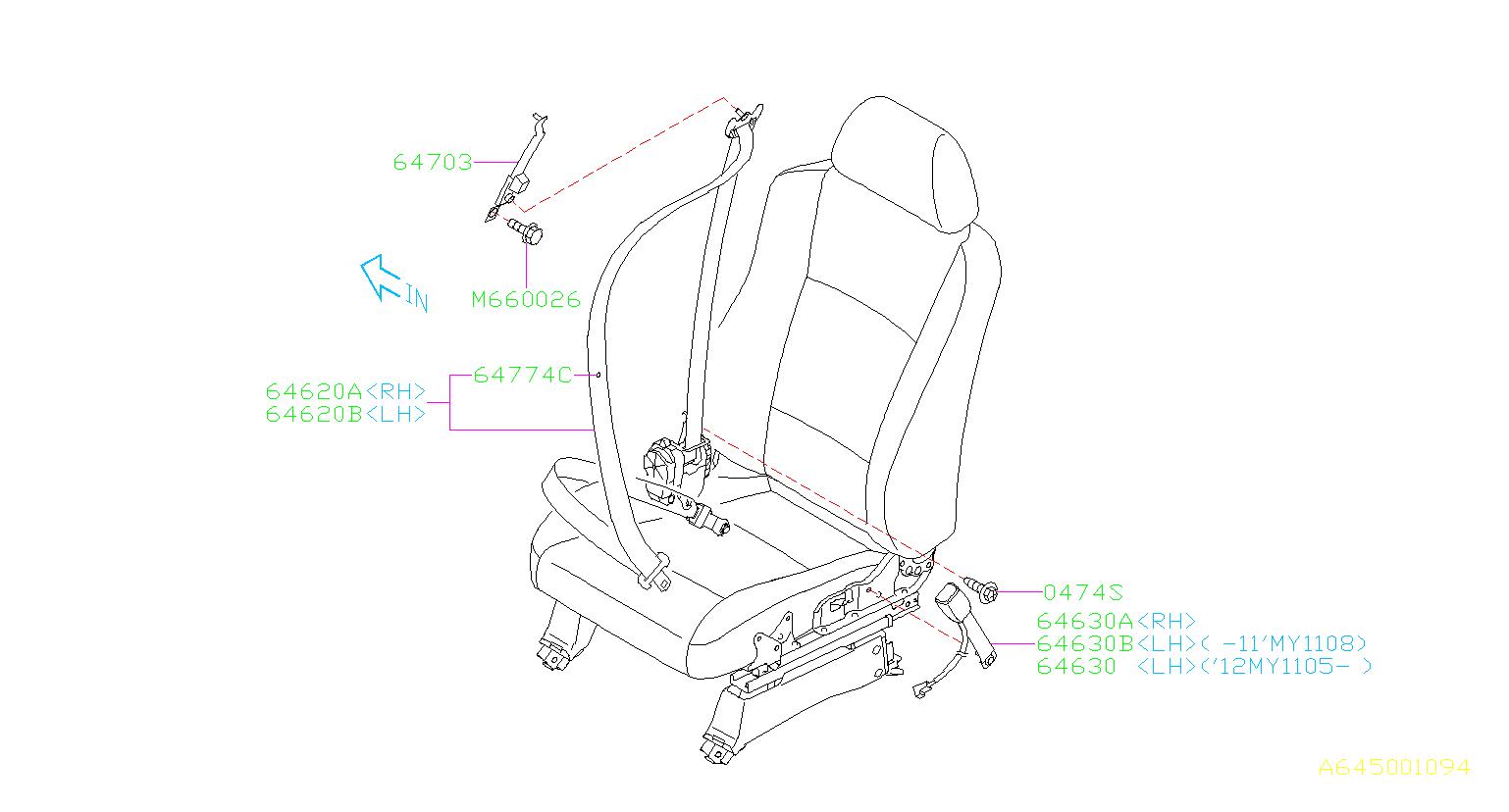 Subaru Tribeca Stopper-tang. Seat, interior, front, belt