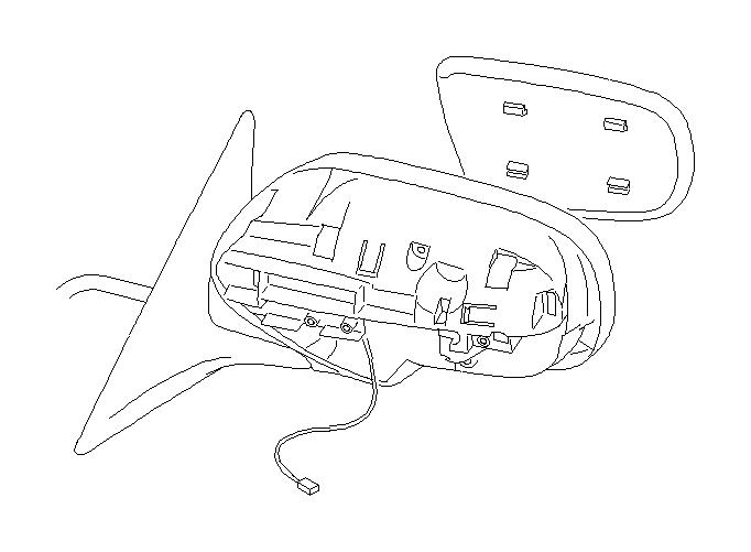 Subaru Outback Door mirror unit-left. View, turn, rear