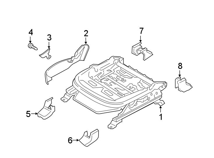 Hyundai Santa Fe Seat Track Cover. POWER, PASSENGER