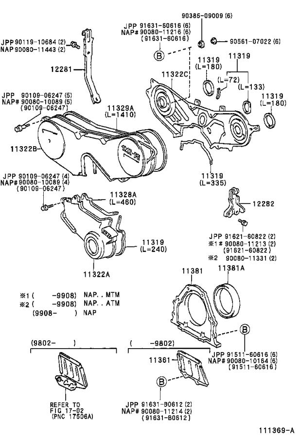 2001 Toyota Camry Engine Timing Cover. Cover, Timing Chain