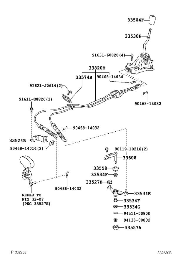 2006 Toyota Solara Cable assembly, transmission control