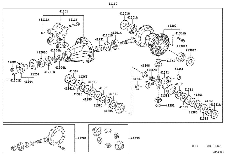2006 Toyota Tundra Shaft, rear differential pinion