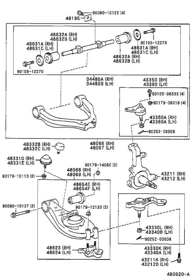 1999 Toyota Tacoma Shaft kit. Front suspension upper arm