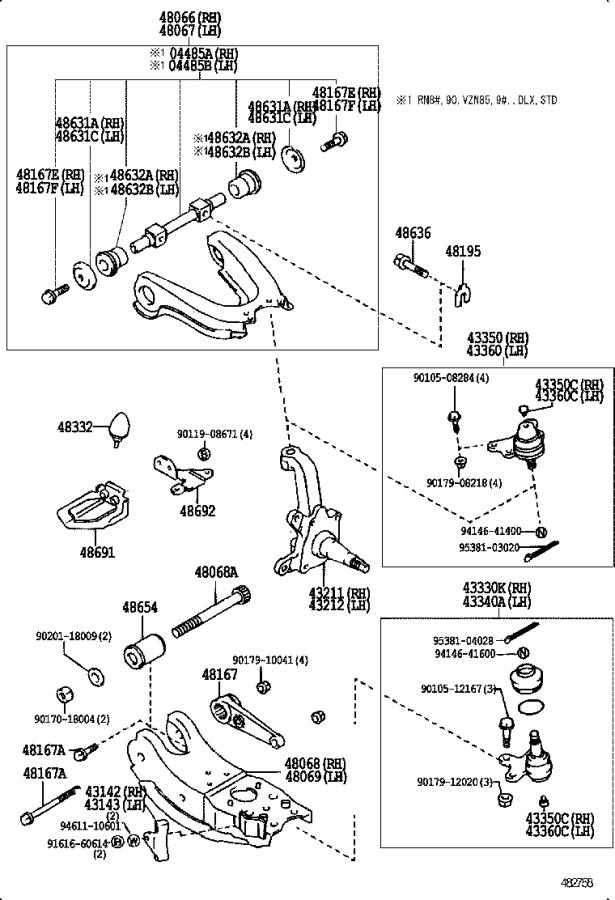 1993 Toyota Truck Knuckle, steering, right. Suspension