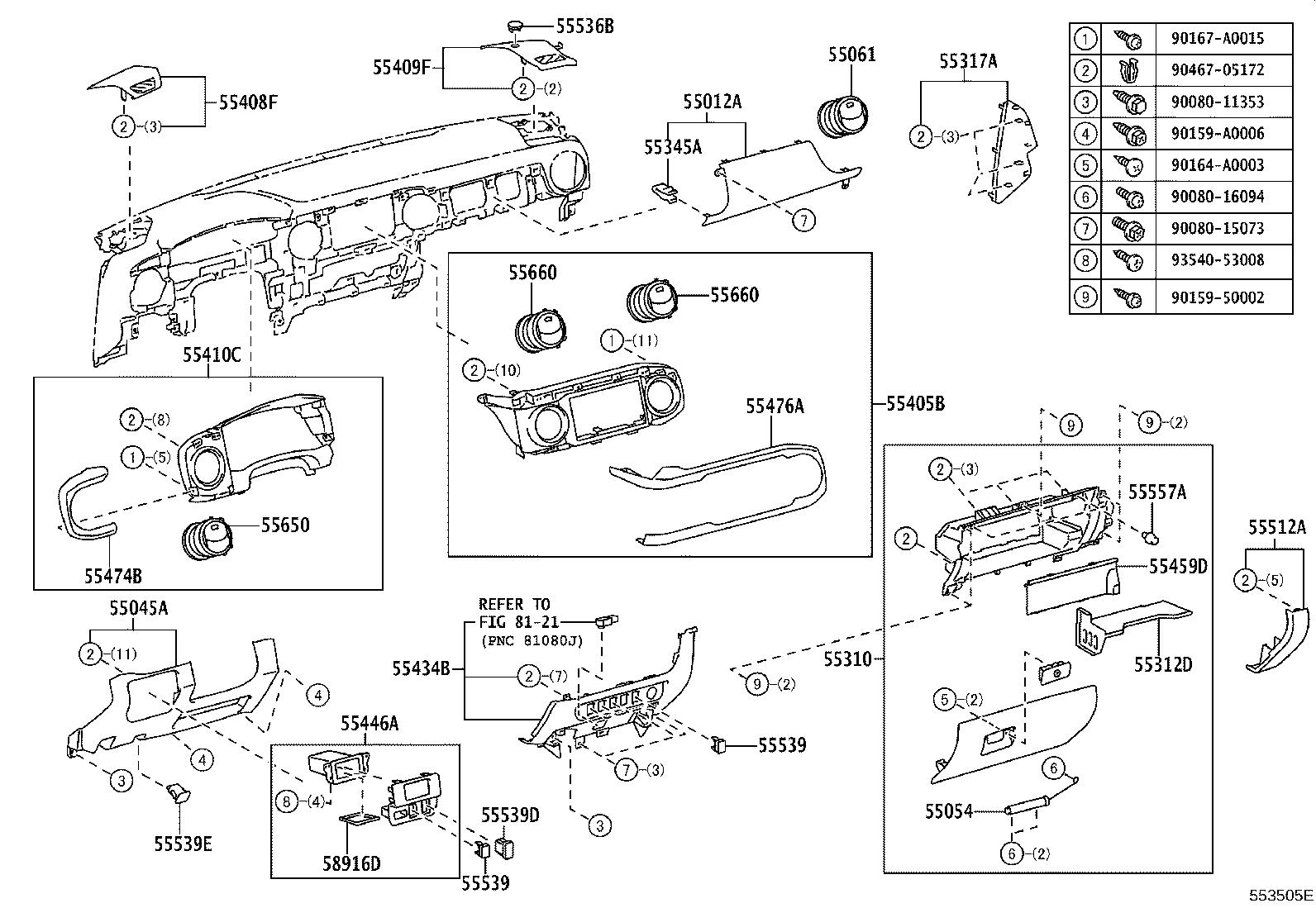 2005 toyota tacoma parts diagram 5 function led tailgate light bar wiring cushion instrument panel 5534904010