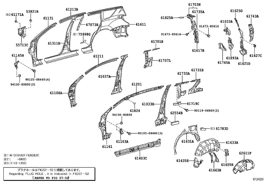 Toyota RAV4 Body B-Pillar (Right). Center, Outer, Side