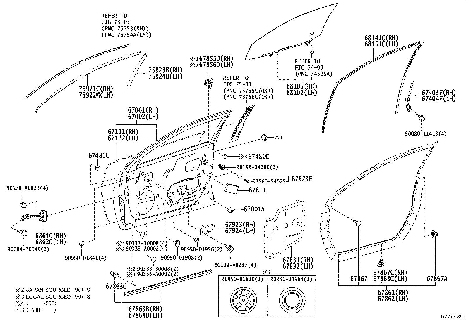 Toyota Avalon Door Check (Front). A mechanism used to