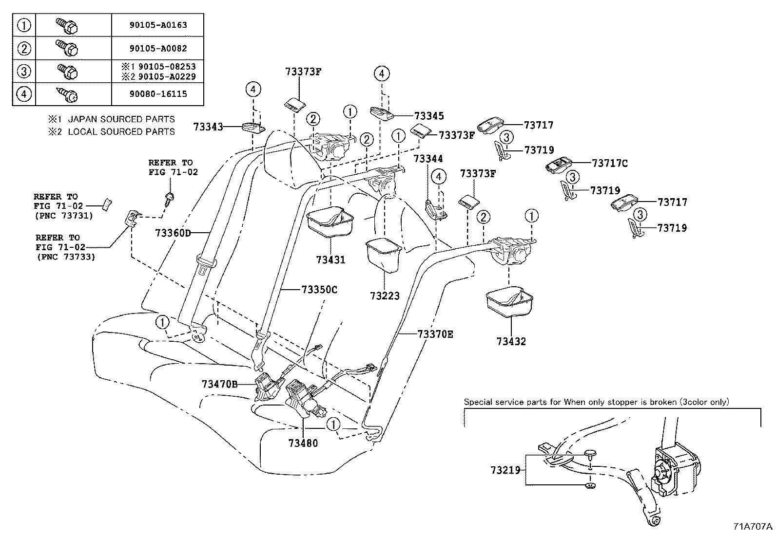 toyota camry interior parts diagram line of house plan 2018 cover seat belt retractor 7322306110