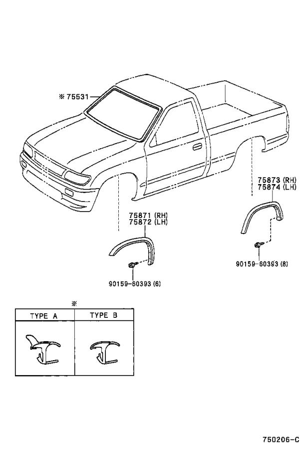 Toyota Tacoma Fender Flare (Right). Body, MOULDING