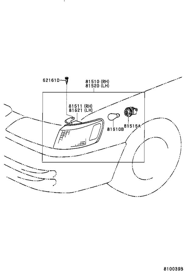 1998 Toyota Camry Turn Signal Light (Left, Front). Lamp